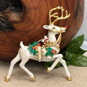 Vintage Prancing Rudolph Reindeer Brooch Unsigned